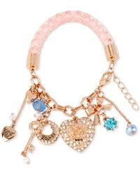 Betsey Johnson | Metallic Rose Gold-tone Crystal And Imitation Pearl Charm Bracelet | Lyst
