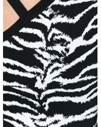 Fausto Puglisi - Black Zebra Print Asymmetric Top - Lyst