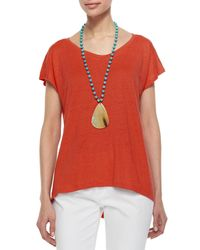 Eileen Fisher - Orange Organic Linen Jersey Cap-sleeve Top - Lyst