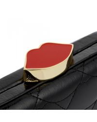 Lulu Guinness | Black Quilted Lips Patent Fifi Clutch | Lyst