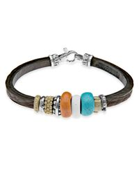 Platadepalo | Black Resin Turquoise Leather & Silver Bracelet | Lyst