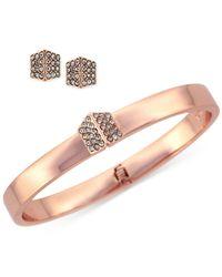 Vince Camuto - Metallic Rose Gold-Tone Crystal Pavé Bangle Bracelet And Stud Earring Set - Lyst