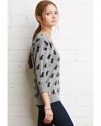 Forever 21 - Gray Cat Print Sweatshirt - Lyst
