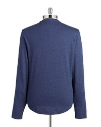 Original Penguin | Blue Cotton-blend Henley for Men | Lyst