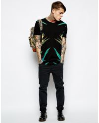 ASOS | Black Tshirt with Palm Leaves Print for Men | Lyst