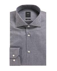 BOSS Gray 't-steven' | Slim Fit, Italian Cotton Dress Shirt for men
