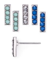 Aqua - Metallic Lexi Stud Earrings, Set Of 3 - Lyst