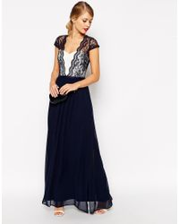 ASOS | Blue Scalloped Lace Maxi Dress | Lyst