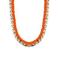 AKIRA | Orange Shoe Lace Wrap Chain Necklace | Lyst