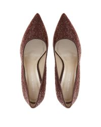 Karen Millen | Red Glitter Court Shoe | Lyst