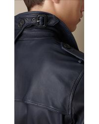 Burberry - Blue Lambskin Trench Coat for Men - Lyst