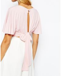 Love - Pink Plunge Front Crop Top With Scarf Detail Back - Lyst