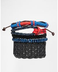 ASOS | Black Bracelet Pack With Paracord for Men | Lyst
