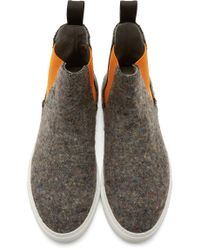 MSGM - Gray Grey & Orange Wool High-top Sneakers for Men - Lyst