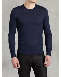John Varvatos | Blue Merino Silk Crewneck for Men | Lyst