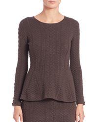 Josie Natori - Gray Textured Knit Peplum Top - Lyst