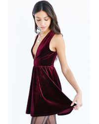 Lucca Couture - Purple Plunging Velvet Mini Dress - Lyst