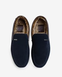 Ted Baker - Blue Faux Fur Moccasin Slippers for Men - Lyst