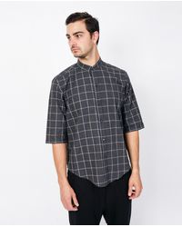 Assembly - Gray Noncollar Shirt / Plaid for Men - Lyst