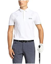 BOSS Green | White Golf Polo Shirt 'paddy Mk' In Functional Textile for Men | Lyst
