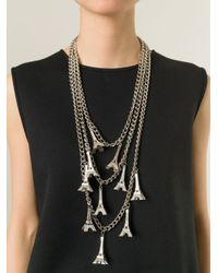 Andrea Crews - Metallic Long Eiffel Tower Charm Necklace - Lyst