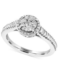 Effy Collection | Diamond Halo Engagement Ring (5/8 Ct. T.w.) In 14k White Gold | Lyst