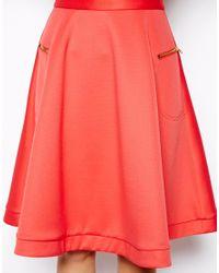 ASOS | Orange Midi Skirt In Scuba With Zips | Lyst
