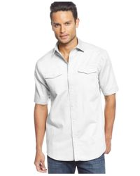 Sean John | White Short Sleeve Solid Linen Shirt for Men | Lyst
