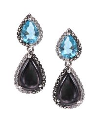 Judith Jack Sterling Silver Black and Blue Double Teardrop Earrings