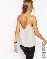 ASOS - Gray Plunge Neck Strappy Cami Top - Lyst