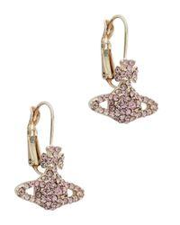 Vivienne Westwood | Pink Grace Bas Relief Silver Tone Orb Earrings | Lyst