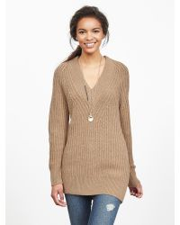 Banana Republic | Brown Textured V-neck Sweater Tunic | Lyst