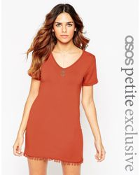 ASOS - Brown Petite T-shirt Dress With Pom Pom Hem - Lyst