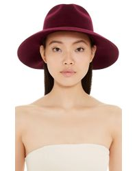 Sensi Studio - Purple Wool Long Brimmed Hat With Feather - Lyst