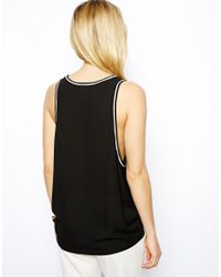 ASOS | Black Vest with Drop Armhole and Contrast Piping | Lyst