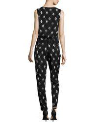 NYDJ - Black Milly Printed Tuxedo Jumpsuit - Lyst
