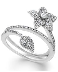 Macy's | White Diamond Wrap-around Flower Ring In Sterling Silver (1/2 Ct. T.w.) | Lyst
