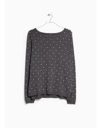 Mango - Gray Embossed Polka-Dot Sweater - Lyst