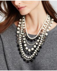 Ann Taylor | Black Pearlized Statement Necklace | Lyst