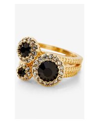 Express - Black Pave And Round Stone Trio Ring - Lyst