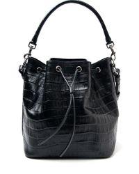 Saint Laurent - Black Emmanuelle Crocodile-Leather Bucket Bag - Lyst