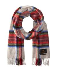 Scotch & Soda - Red Multicolor Check Scarf With Fringes - Lyst