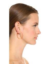 Tory Burch | Metallic Pierced T Hoop Earrings - Rose Gold | Lyst