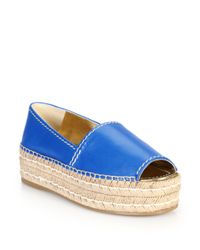 Prada - Blue Open-toe Leather Platform Espadrilles - Lyst