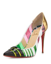 Christian Louboutin - Black Bandy Multicolor Striped Red Sole Pump - Lyst