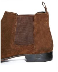 Lyst Asos Chelsea Boots In Suede In Brown For Men