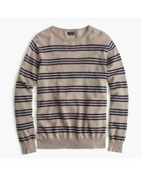 J.Crew | Natural Slim Cotton-cashmere Sweater In Triple Stripe for Men | Lyst