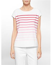 Calvin Klein | Pink White Label Ombre Stripe Cap Sleeve Top | Lyst