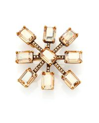 Oscar de la Renta | Metallic Starburst Crystal Convertible Brooch/pendant Necklace | Lyst