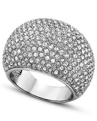 Swarovski | Metallic Rhodium-Plated Pave Crystal Stone Ring | Lyst